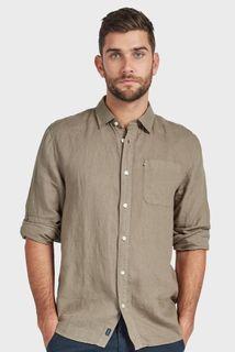 Academy Brand Hampton Linen Long Sleeve Shirt Olive