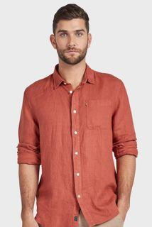 Academy Brand Hampton Linen Long Sleeve Shirt Chilli