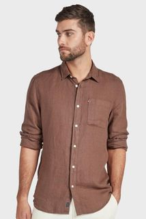 Academy Brand Hampton Linen Long Sleeve Shirt Bison
