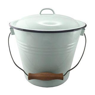Falcon Enamel Bucket + Lid Duck Egg Blue / Grey Rim 5lt