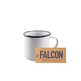Falcon Enamel Mug 8cm White/grey