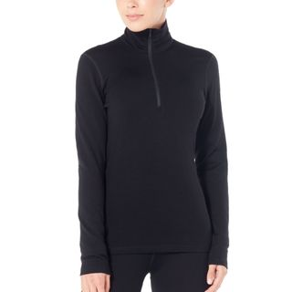 Icebreaker Womens 260 Tech Ls Half Zip Black