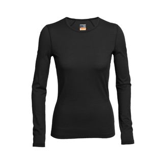 Icebreaker Womens 200 Oasis Long Sleeve Crewe Black