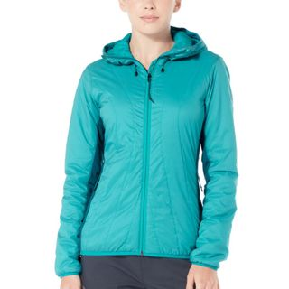 Icebreaker Womens Hyperia Lite Hybrid Hooded Jacket Arctic Teal / Kingfisher