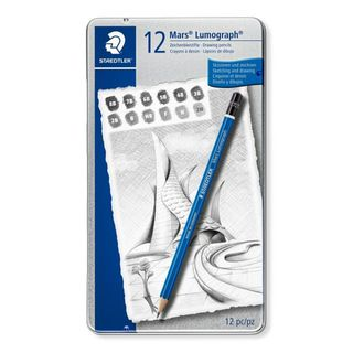 MARS LUMOGRAPH PENCILS SOFT DEGREES TIN SET 12