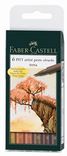 FABER PITT ARTIST BRUSH PEN SET 6 TERRA