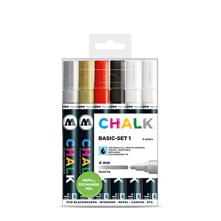 MOLOTOW REFILLABLE CHALK MARKER 4MM BASIC SET 6