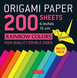 ORIGAMI PAPER 200 SHEETS RAINBOW COLOURS