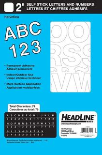 "HEADLINE STICK ON LETTERS & NUMBERS 2"" WHT"