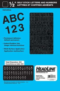 "HEADLINE STICK ON LETTERS & NUMBERS 1/2"" BLK"