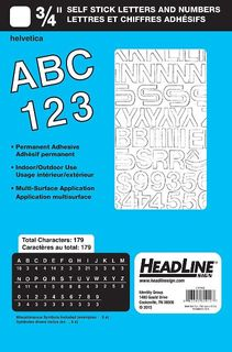 "HEADLINE STICK ON LETTERS & NUMBERS 3/4"" WHT"