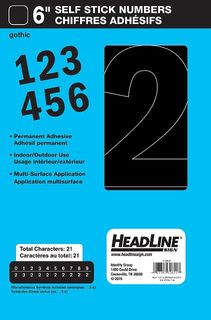 "HEADLINE STICK ON NUMBERS 6"" BLK"