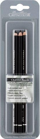 CRETACOLOR CHARCOAL PENCIL BLACK BLISTER PK 3