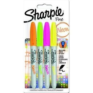 SHARPIE MARKER FINE NEON ASSORTED 4 PK