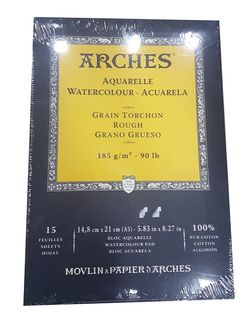 ARCHES WATERCOLOUR PAD 185G R 15 SHT A5