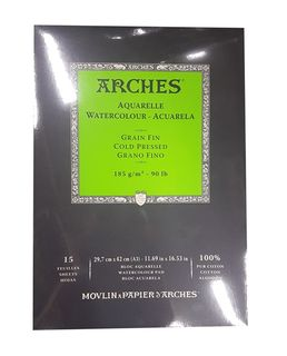 ARCHES WATERCOLOUR PAD 185G CP 15 SHT A3