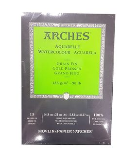 ARCHES WATERCOLOUR PAD 185G CP 15 SHT A5
