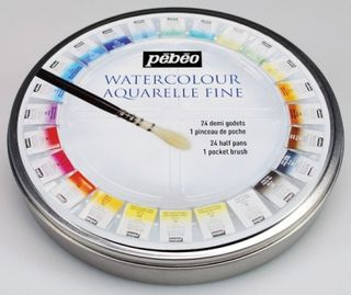 PEBEO WATERCOLOUR ROUND METAL BOX 24 HALF PANS