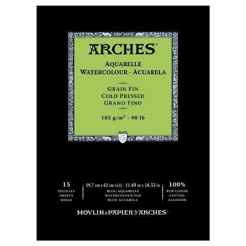 ARCHES WATERCOLOUR PAD 185G CP 15 SHT A4