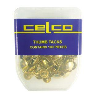 CELCO BRASS THUMB TACKS PKT 100
