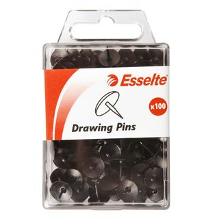 ESSELTE DRAWING PINS BLACK PKT100