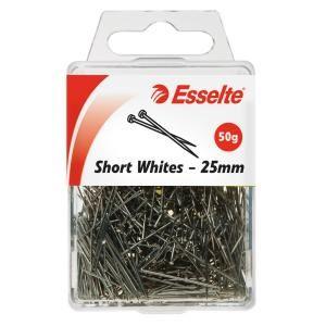 ESSELTE SHORT WHITES PINS 25MM 50GM PKT