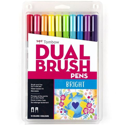 TOMBOW ABT BRUSH MARKER SET 10 BRIGHTS