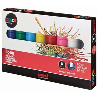POSCA MARKER BOLD CHISEL TIP 8MM ASSTD COLOUR SET8