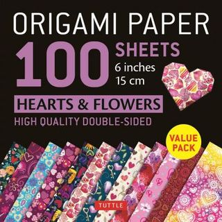 ORIGAMI PAPER HEARTS AND FLOERS 100 SHEETS 15CM