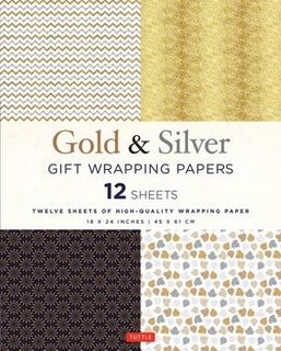 GOLD & SILVER WRAPPING PAPERS 12 SHEETS 18 X 24 IN