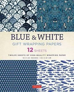 BLUE & WHITE WRAPPING PAPER 12 SH 45 X 61CM