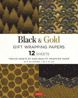 BLACK & GOLD WRAPPING PAPER 12 SH 45 X 61 CM