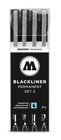 MOLOTOW BLACKLINER SET 4 #3 (CHIS,RND,CALLIG,BRUS)