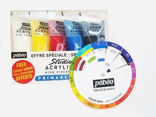PEBEO STUDIO ACRYLIC 100ML SET 5 + COLOR WHEEL
