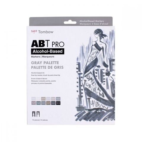 TOMBOW ABT PRO ALCOHOL MARKER SET 12 GREY COLOURS