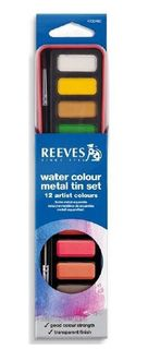 REEVES WATERCOLOUR TABLETS METAL TIN SET12 + BRUSH
