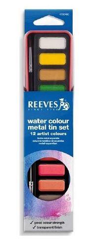 REEVES WATERCOLOUR TABLETS METAL TIN SET12 + BRUSH