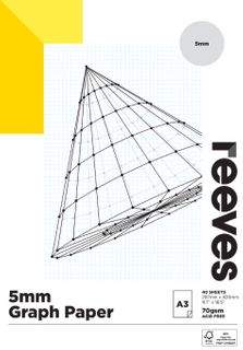 REEVES GRAPH PAPER PAD 5MM 70GSM A3