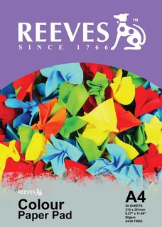 REEVES ASSORTED COLOUR PAPER PAD 80GSM A4 30 SHT