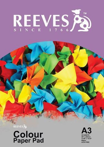 REEVES ASSORTED COLOUR PAPER PAD 80GSM A3 30 SHT