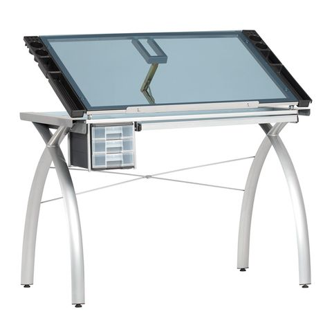 FUTURA CRAFT STATION TABLE SILVER/BLUE GLASS