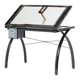 FUTURA CRAFT STATION TABLE BLACK/CLEAR GLASS