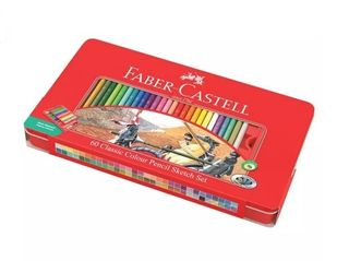 FABER CLASSIC COLOUR PENCIL SKETCH TIN SET 60