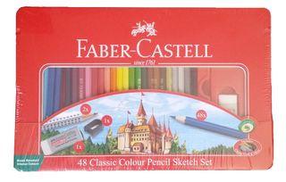 FABER CLASSIC COLOUR PENCIL SKETCH TIN SET 48