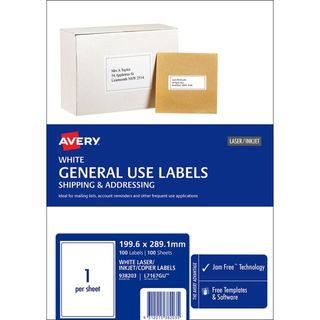 AVERY A4 MULTI USE LASER/INKJET/COPIER LABEL PK100