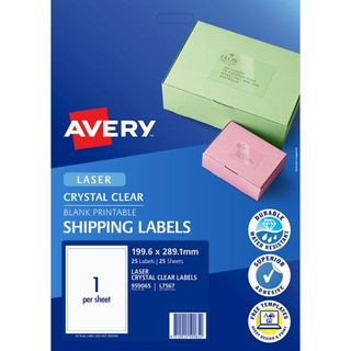 AVERY CRYSTAL CLEAR 199.6 X 289.1MM LABEL PKT25