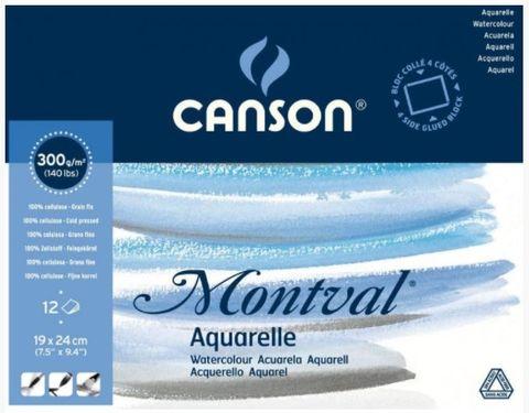 CANSON MONTVAL WATERCOLOUR BLOCK 300G CP 19 X 24CM