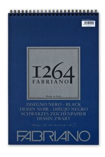 FABRIANO 1264 BLACK 200G A3 TOP SPIRAL PAD (40)