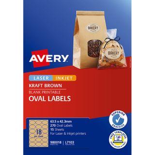 AVERY L7103 OVAL KRAFT 18UP 15 SHEETS