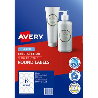 AVERY L7114 ROUND CRYSTAL CLEAR 60MM 10SHEET